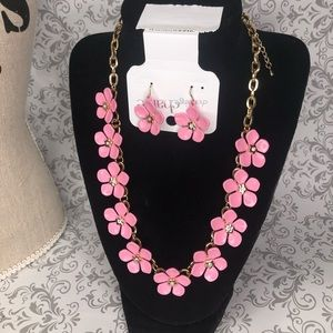 Charming Charlie pink flower necklace set